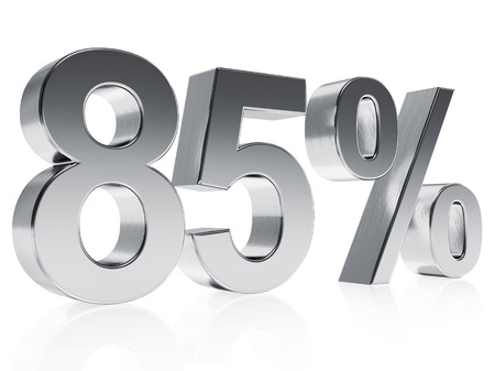 High quality rendering of a silver symbol for 85% discount or gain with a subtle reflection photo