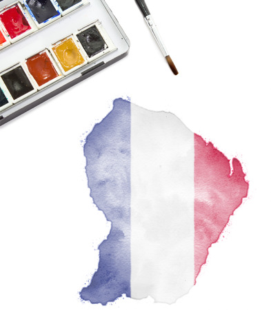 guyanese: A watercolor painting of French Guiana in the national colors.(series)