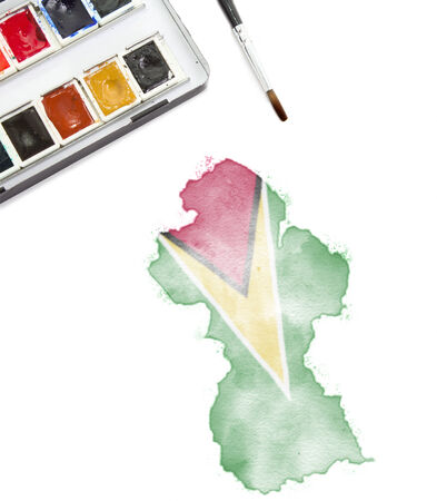 guyana: A watercolor painting of Guyana in the national colors.(series)