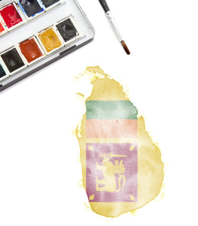 A watercolor painting of Sri Lanka in the national colors. (Series) photo
