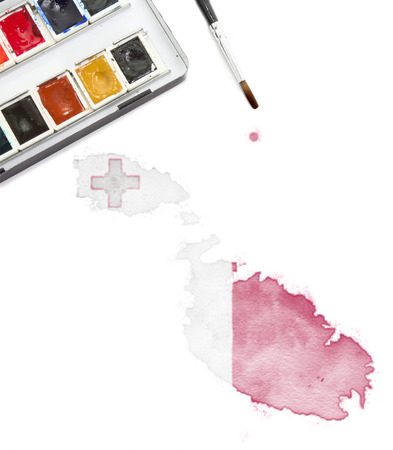 maltese map: A watercolor painting of Malta in the national colors. (Series)