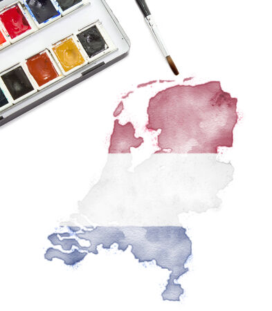 national colors: A watercolor painting of Ukraine in the national colors. (Series) Stock Photo