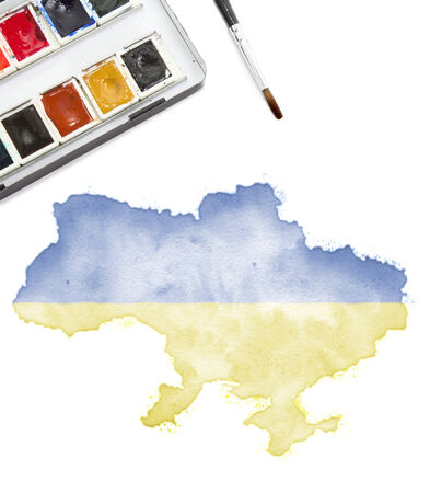 national colors: A watercolor painting of Syria in the national colors. (Series) Stock Photo
