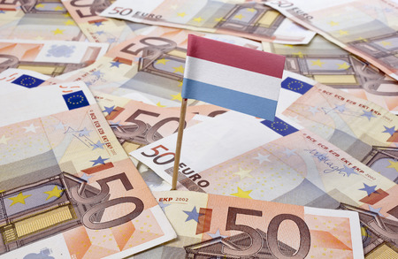 Flag of Luxembourg sticking in european banknotes.(series) photo