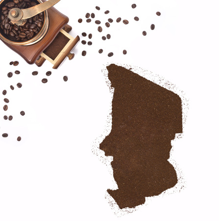 kibble: Coffee powder in the shape of Chad and a decorative coffee mill.(series)