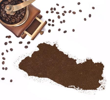 el salvadoran: Coffee powder in the shape of El Salvador and a decorative coffee mill.(series)
