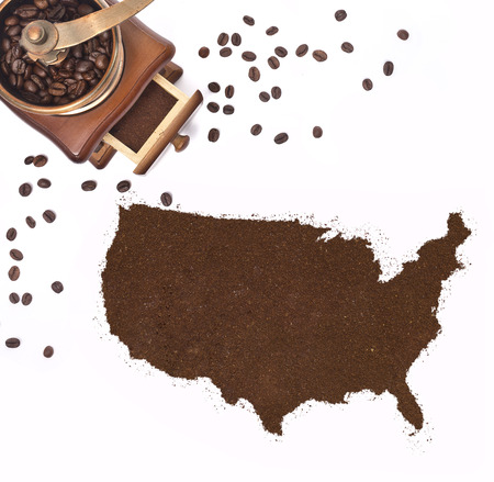 kibble: Coffee powder in the shape of USA and a decorative coffee mill.(series)
