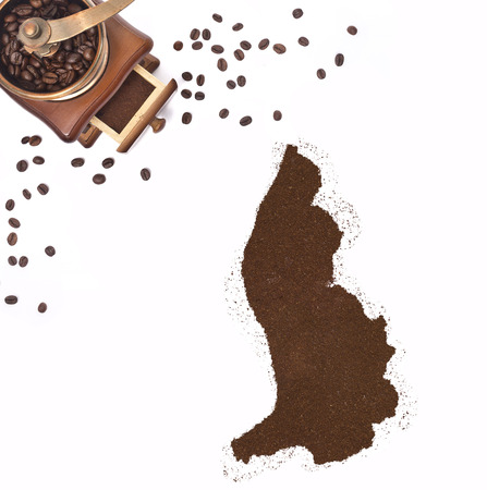 kibble: Coffee powder in the shape of Lichtenstein and a decorative coffee mill.(series)