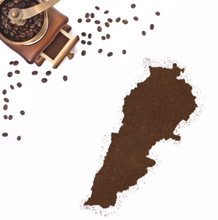 kibble: Coffee powder in the shape of Lebanon and a decorative coffee mill.(series)