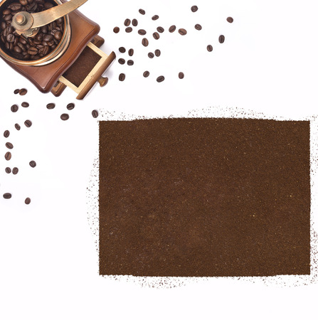 kibble: Coffee powder in the shape of Colorado and a decorative coffee mill.(series)
