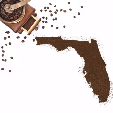 floridian: Coffee powder in the shape of Florida and a decorative coffee mill.(series)