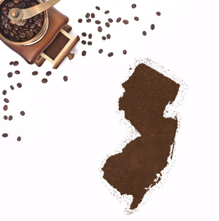 kibble: Coffee powder in the shape of New Jersey and a decorative coffee mill.(series)