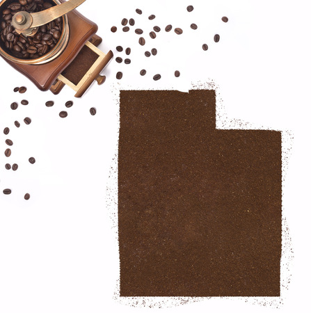 kibble: Coffee powder in the shape of Utah and a decorative coffee mill.(series)