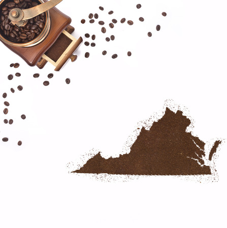 kibble: Coffee powder in the shape of Virginia and a decorative coffee mill.(series)