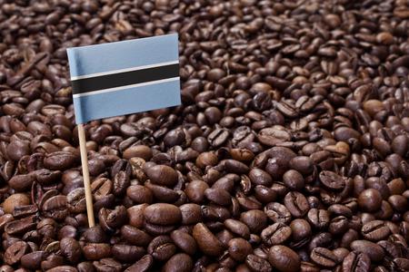 botswanan: Flag of Botswana sticking in roasted coffee beans.(series)