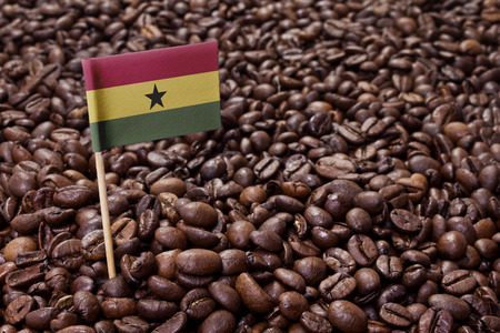 ghanese: Flag of Ghana sticking in roasted coffee beans.(series) Stock Photo