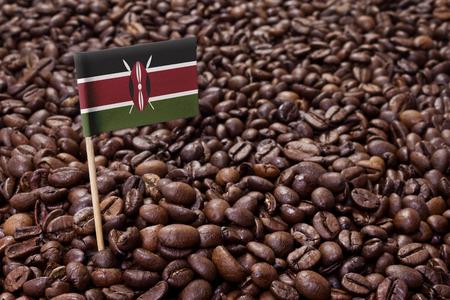 Flag of Kenya sticking in roasted coffee beans.(series)