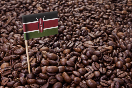 Flag of Kenya sticking in roasted coffee beans.(series)