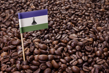 lesotho: Flag of Lesotho sticking in roasted coffee beans.(series)