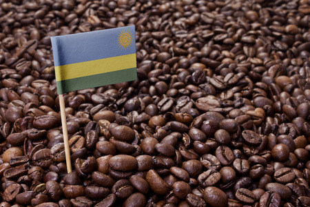 Flag of Rwanda sticking in roasted coffee beans.(series)