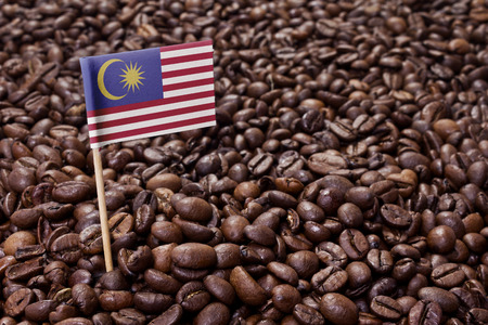 Flag of Malaysia sticking in roasted coffee beans.(series)