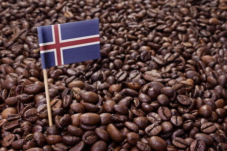 the icelandic flag: Flag of Iceland sticking in roasted coffee beans.(series)