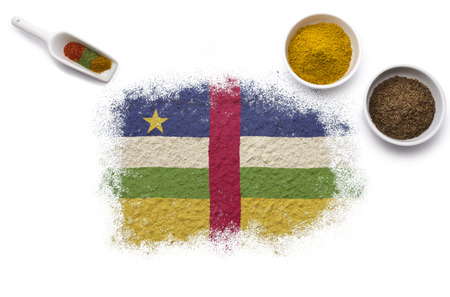 Various spices forming the flag of Central African Republic.(series) photo