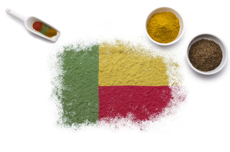 Various spices forming the flag of Benin.(series) photo
