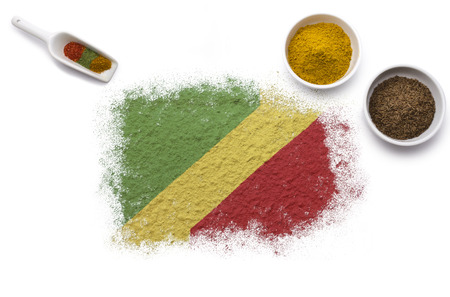 gold shovel: Various spices forming the flag of Congo, Republic of the.(series)