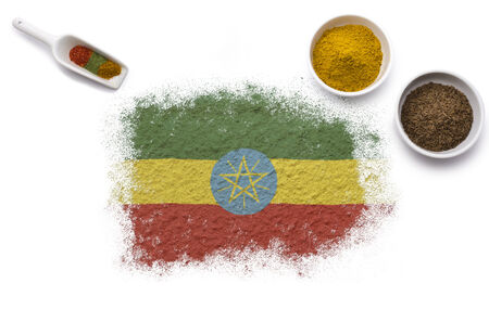 Various spices forming the flag of Ethiopia.(series) photo