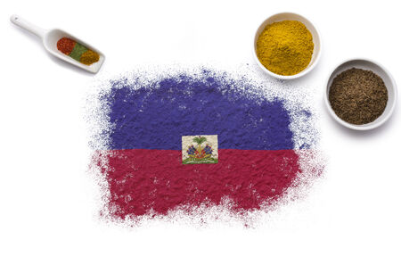 Various spices forming the flag of Haiti.(series)