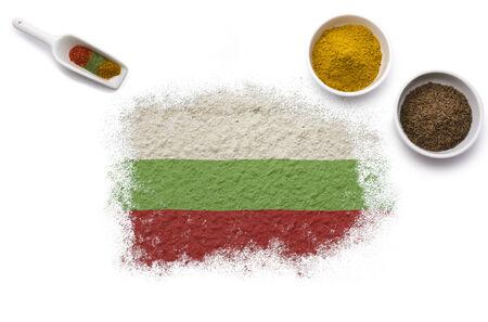 Diverses épices formant le drapeau de la Bulgarie. (Série)