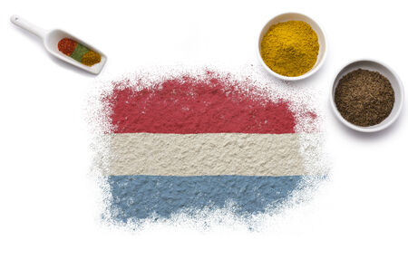 Various spices forming the flag of Luxembourg.(series) photo