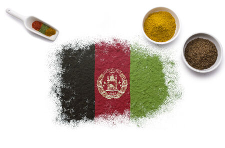 afghan flag: Various spices forming the flag of Afghanistan.(series)