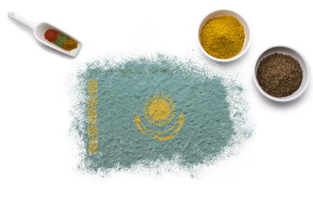 Various spices forming the flag of Kazakhstan.(series) photo