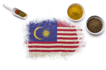 Various spices forming the flag of Malaysia.(series) Stock Photo