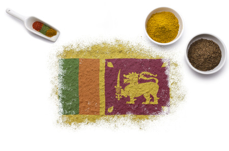 Various spices forming the flag of Sri Lanka.(series) photo