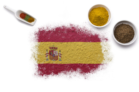 Various spices forming the flag of Spain.(series) photo
