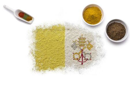 Various spices forming the flag of Vatican City.(series) photo
