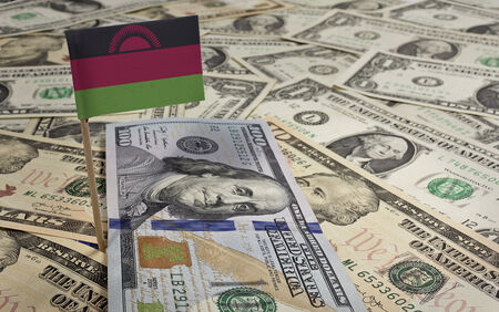 malawian flag: Flag of Malawi sticking in a variety of american banknotes.(series)
