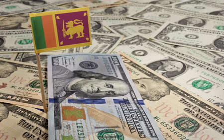 sri lankan flag: Flag of Sri Lanka sticking in a variety of american banknotes.(series)