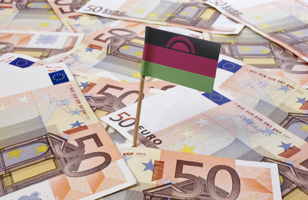 malawian flag: Flag of Malawi sticking in european banknotes.(series)
