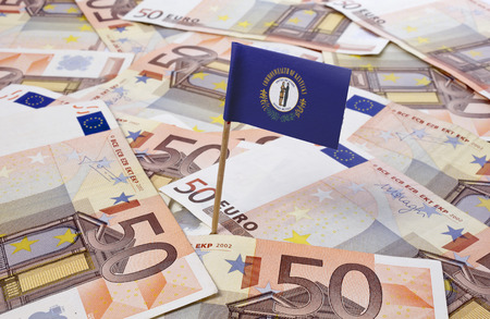 kentucky: Flag of Kentucky sticking in european banknotes.(series)