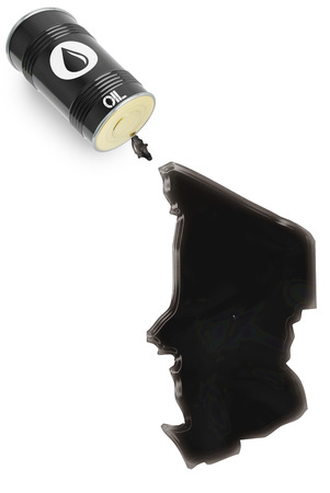 liquid state: Barrel of oil and a glossy spill in the shape of Chad (series)