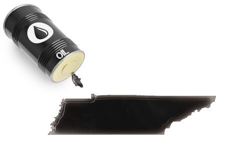 Barrel of oil and a glossy spill in the shape of Tennessee (series) Stock Photo