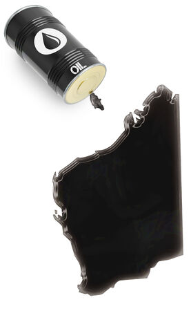 western australia: Barrel of oil and a glossy spill in the shape of Western Australia (series)