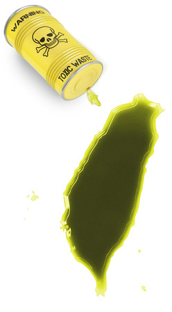 Glossy spill of a toxic substance in the shape of Taiwan (series) photo