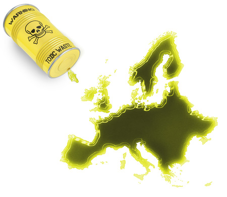 Glossy spill of a toxic substance in the shape of Europe (series) photo