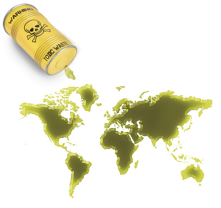 Glossy spill of a toxic substance in the shape of World (series) photo
