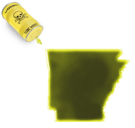 Glossy spill of a toxic substance in the shape of Arkansas (series) photo